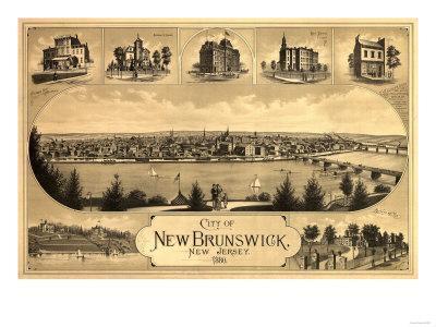 New Brunswick, New Jersey - Panoramic Map