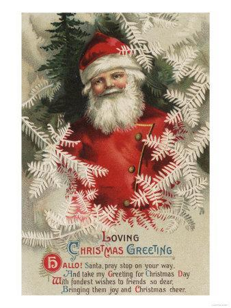 Christmas Greeting - Santa in White Branches