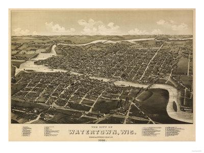 Watertown, Wisconsin - Panoramic Map