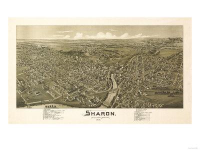 Sharon, Pennsylvania - Panoramic Map