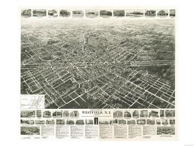 Westfield, New Jersey - Panoramic Map