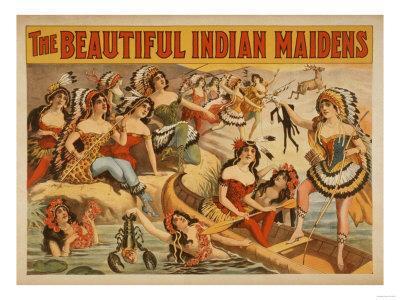 Beautiful Indian Maidens Burlesque Show Poster