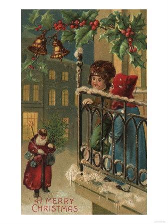 Christmas Greeting - Kids Watching Santa