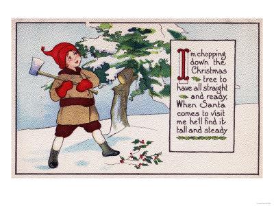 Christmas - Boy Chopping Down Christmas Tree