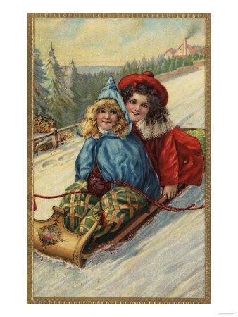 Christmas - Two Little Girls Sledding