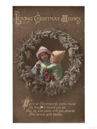 Loving Christmas Wishes - Little Kids Embracing