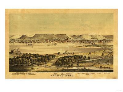 Winona, Minnesota - Panoramic Map