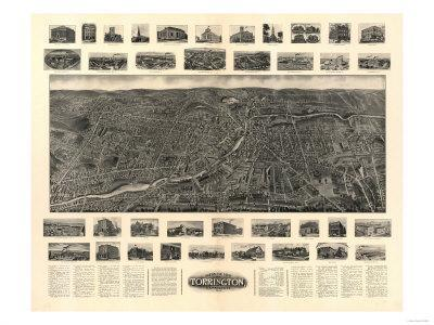 Torrington, Connecticut - Panoramic Map
