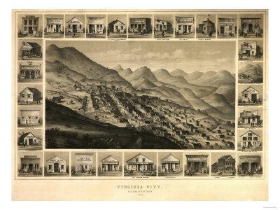 Virginia City, Nevada - Panoramic Map
