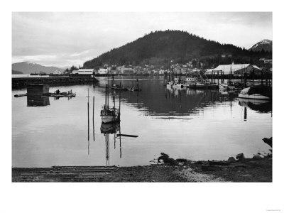 Wrangell, Alaska Town View of Fishing Boats Photograph - Wrangell, AK