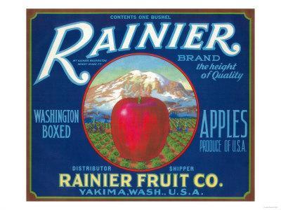 Rainier Apple Label - Yakima, WA