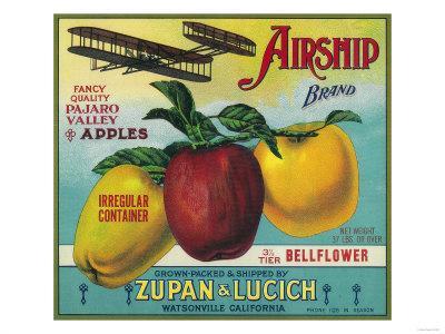 Airship Apple Crate Label - Watsonville, CA