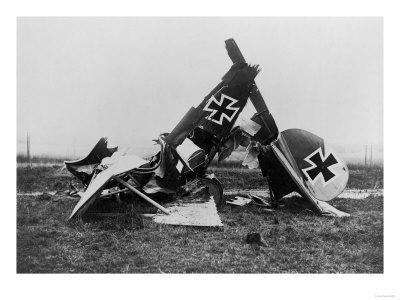 Wrecked German Biplane Photograph