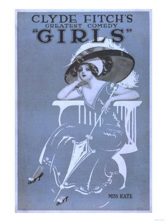 """Clyde Fitch's Greatest Comedy, """"Girls"""" Theatre Poster No.2"""