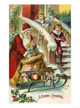 A Merry Christmas - Kids Running to Greet Santa