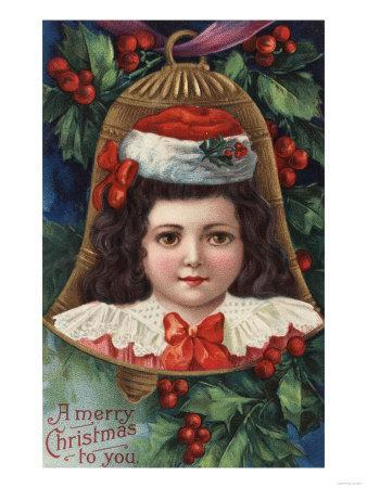 A Merry Christmas to You - Girl in Santa Hat in Bell