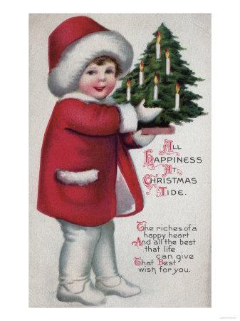 All Happiness at Christmas Tide - Child Holding a Tree
