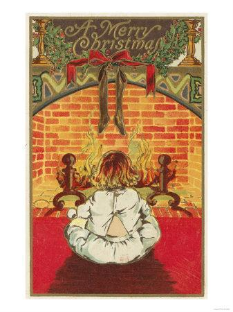 A Merry Christmas - Child in Front of Fireplace