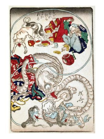 Japanese Wood-Cut Print, Creatures with Long Necks Attack a Noodle Shop Customer, no.1