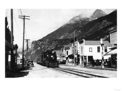 White Pass Train on Broadway St. Skagway, AK Photograph - Skagway, AK