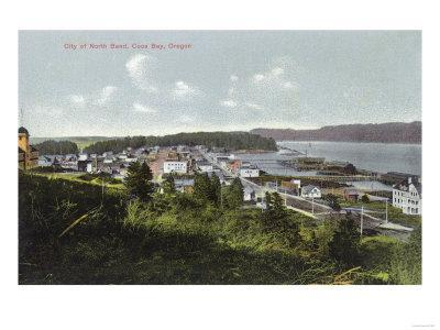 Aerial View of the City and Coos Bay - North Bend, OR