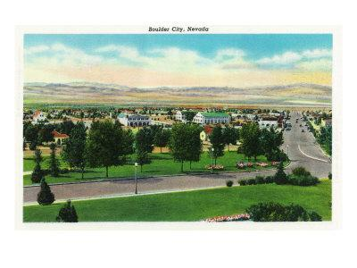 Boulder City, Nevada, Panoramic View of the Town