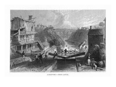 Lockport, New York, View of Canal Locks at the Erie Canal