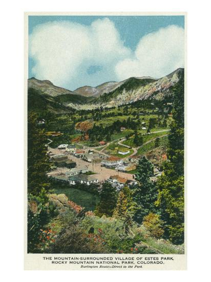 Rocky Mt National Park Colorado Aerial View Of Mountain Surrounded Estes Park Prints Lantern Press Allposters Com