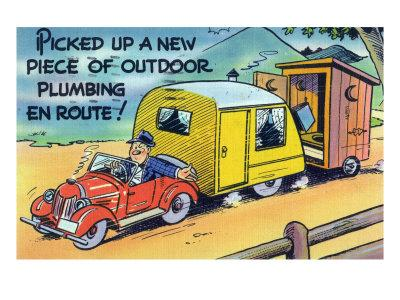Man Towing a Trailer and an Outhouse, Outdoor Plumbing
