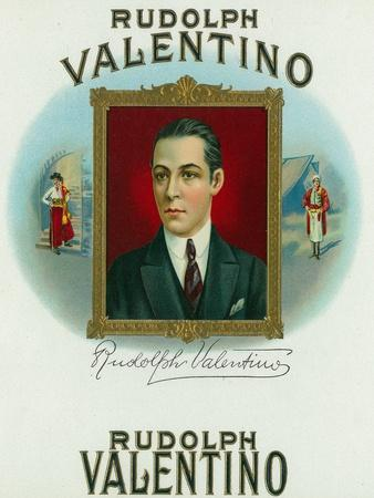 Rudolph Valentino Brand Cigar Outer Box Label