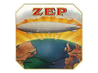 Zep Brand Cigar Box Label, Aviation
