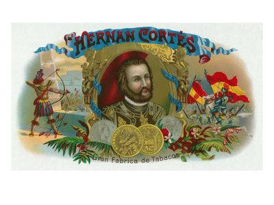 Hernan Cortes Brand Cigar Box Label