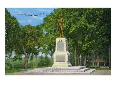 Galena, Illinois, View of the Ulysses S. Grant Statue in Grant Park