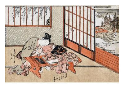 Women at a Table with a View of the Landscape, Japanese Wood-Cut Print