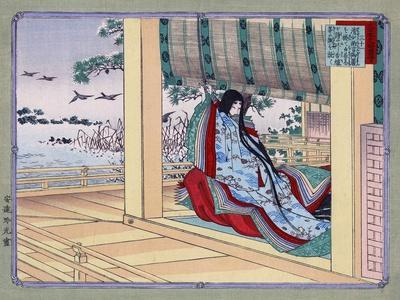 Woman Adjusting the Blinds, Japanese Wood-Cut Print