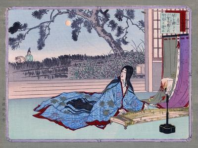 Woman Lying on the Floor Playing an Instrument, Japanese Wood-Cut Print