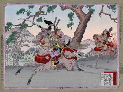 Warriors on Horseback, Japanese Wood-Cut Print