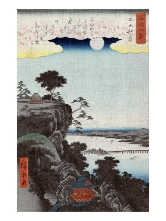 Autumn Moon at Ishiyama, Japanese Wood-Cut Print