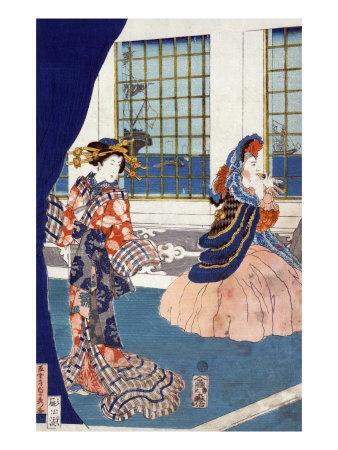 Courtesans in a Western-style Building of Yokohama, Japanese Wood-Cut Print