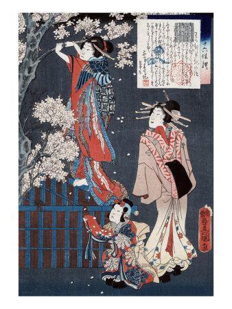 Tale of the Courtesan Wakamurasaki, Japanese Wood-Cut Print