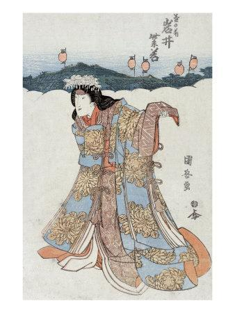 The Actor Iwai Shijaku in the Role of Kikunomae, Japanese Wood-Cut Print