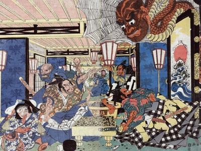 Raiko Shitenno and the Earth Spider, Japanese Wood-Cut Print