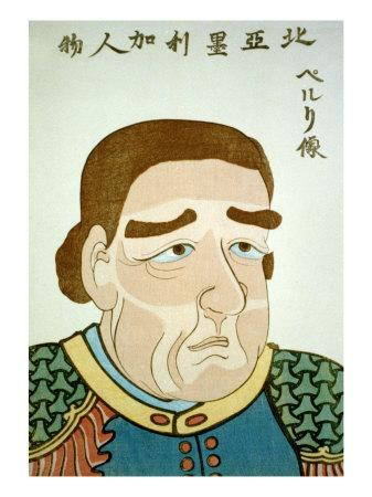 Portrait of Admiral Perry, Japanese Wood-Cut Print