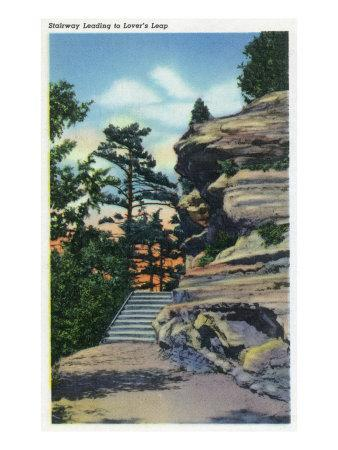 Starved Rock State Park, IL, View of the Stairway Leading to Lover's Leap