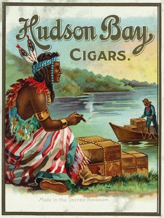 Hudson Bay Brand Cigar Outer Box Label, Native American