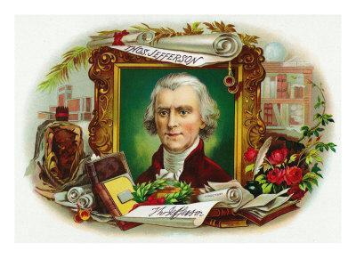 Thomas Jefferson Brand Cigar Inner Box Label