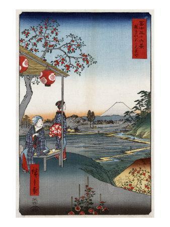 Fujimi Teahouse at Zoshigaya, Japanese Wood-Cut Print