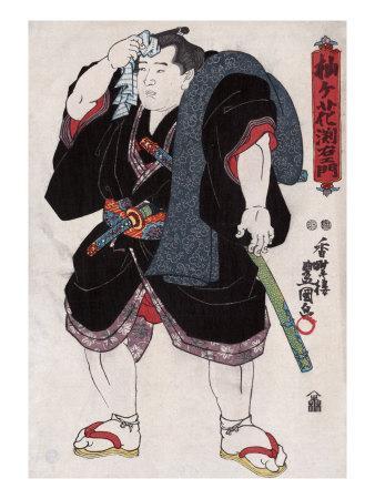 The Sumo Wrestler Somagahama Fuchiemon, Japanese Wood-Cut Print