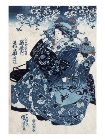 The Courtesan Hanao of Ogiya, Japanese Wood-Cut Print