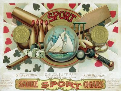 Sport Brand Cigar Box Label, Sports